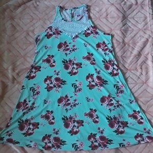 Soft, comfy teal dress with roses on it!